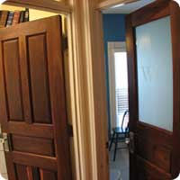 Raised panel walnut door